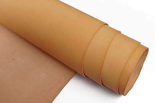 Firm Vegetable Tanned Full Grain Tooling Leather Thick Cowhide Handmade Stiff Leather Material for Craft/Tooling/Caving/Hobby Workshop (Beige-4.0mm, 12x12inches)