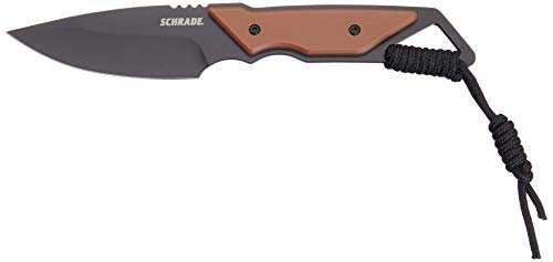 Schrade 4' Frontier Fixed Blade Knife with 3CR13 Steel Black Oxide Blade with 550 Paracord, Lanyard Hole and Sheath for Outdoor Survival, Camping and Everyday Tasks