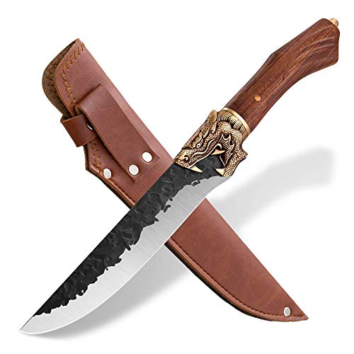 Meat Cleaver Hand Forged Chef Knives Sharp Boning Knives Butcher Knife with Leather Bag and Gift Box German Steel 7Cr17Mov 7 inch for Kitchen Outdoor BBQ Camping Tactical