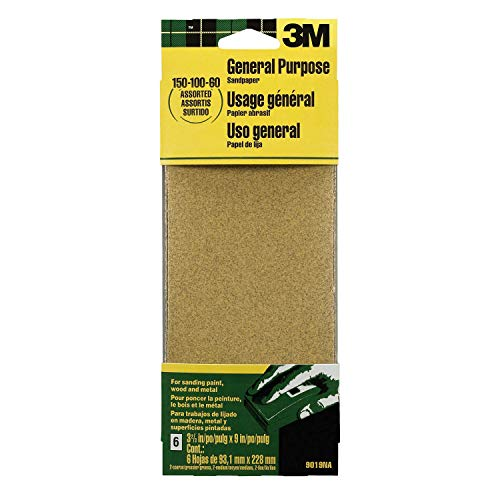 3M 9019 General Purpose Sandpaper Sheets, 3-2/3-in by 9-in, Assorted Grit