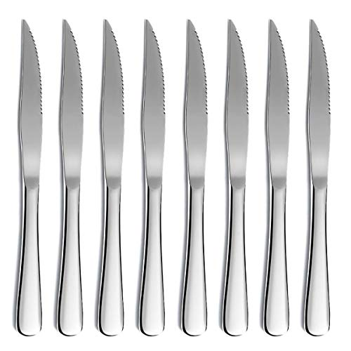Steak Knife Set, Kyrtaon Serrated Knife, Stainless Steel Sharp Knives Set, Dinner Knifes Set of 8, Dishwasher Safe Sturdy And Easy To Clean