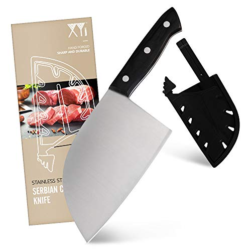 XYJ 7 inch Serbian Knife Chef Knife 3CR13 Stainless Steel Butcher Knife Full Tang Kitchen Cleaver Chinese Chopping Knife with Knife Edge Guards for Carrying Outdoor