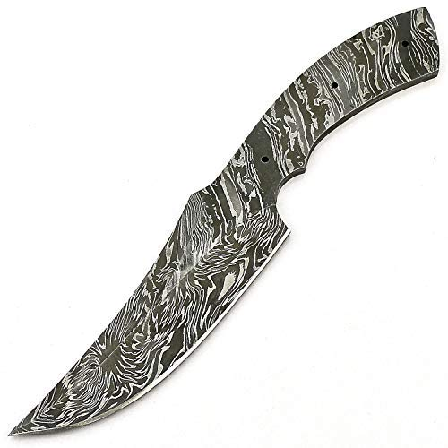 JNR Traders vk2180 Handmade Damascus Steel Hunting Knife Blank Blade Fire Storm Pattern 9.50 Inches