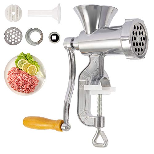 Newdanceus Manual Meat Grinder with Tabletop Clamp | Aluminum Alloy Durable Material with Martensitic Steel Knife | Meat Mincer and Sausage Maker