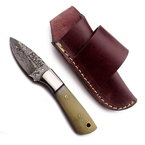 Maan hunting knives Custom handmade Hunting knife tactical knife Damascus steel Survival knife 5.75 inch overall bone handle with leather sheath survival knife in Damascus knife