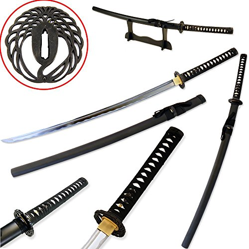 Vulcan Gear Traditional Japanese Handmade Sharp Katana Samurai Sword with Scabbard and Sword Stand (Crane Tsuba)