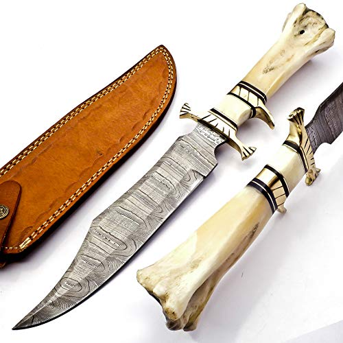 15' Handmade Damascus Steel Hunting Knife, Fixed Blade Bowie Knives, Leather Sheath, Camel Bone Handle Firm Grip