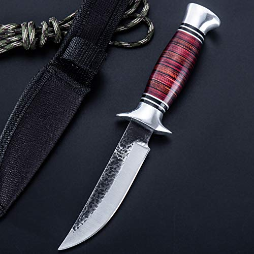 Hobby Hut HH-353 , Fixed Blade Knife Bushcraft 440C Stainless Steel Hunting Knife with Sheath, Pakka Wood Handle Designed for Hunting Camping and Survival (Red)