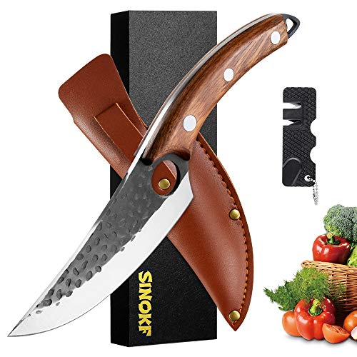 Hand-Forged Boning knife with Sheath, Pocket knife sharpener and Gift Box Martensitic Stainless Meat Cleaver Viking Knife Butcher Knives Chef knife Vegetable Knife Asian Knife
