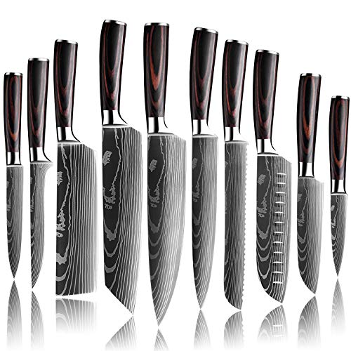 DFITO Kitchen Chef Knife Sets, 3.5-8 Inch Set Boxed Knives 440A Stainless Steel Ultra Sharp Japanese Knives with Sheaths, 10 Pieces Knife Sets for Professional Chefs