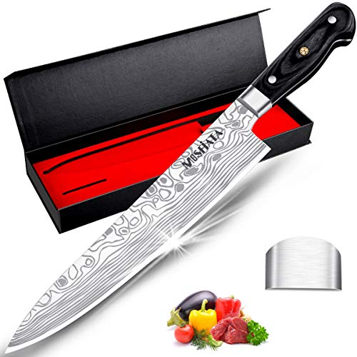 MOSFiATA Chef Knife 10 Inch Super Sharp Professional Kitchen Knife with Finger Guard in Gift Box, German High Carbon Stainless Steel EN.4116 Cooking Knife with Micarta Handle