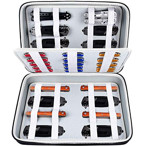Knife Display Case for Pocket Knifes, Knives Displaying Storage Box and Carrying Organizer Holds up to 44+ Folding Knife for Survival, Tactical, Outdoor, EDC Mini Knife (Only A Black Case)
