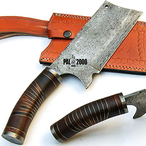 SBGS-9439 Custom Handmade Damascus Steel Blade Hunting Cleaver Knife 14 Inches Rose Wood Handle raindrop pattern with sheath