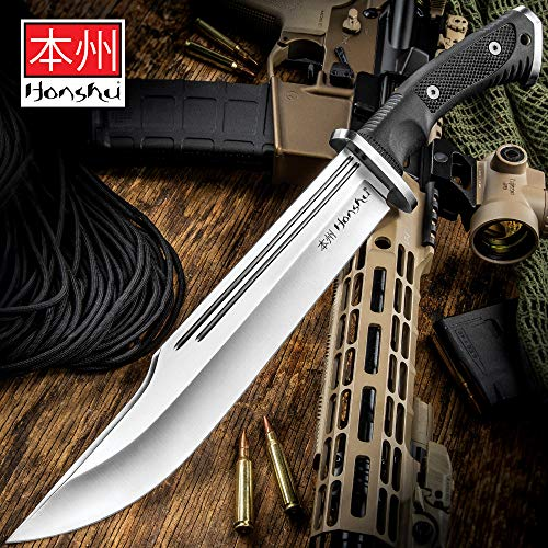 Honshu Conqueror Bowie Knife and Sheath - 7Cr13 Stainless Steel Blade, Grippy TPR Handle, Stainless Steel Guard - Length 16 1/2'