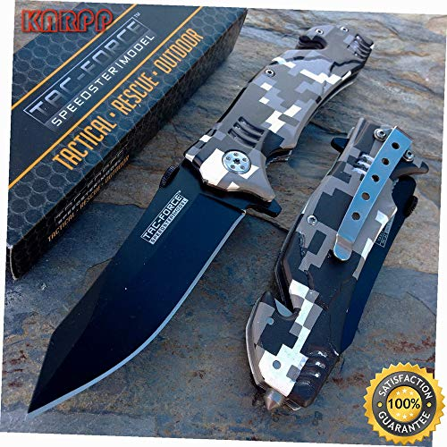 Open Assist Digital Camo Tactical Rescue Camping Outdoor Pocket Knife - Outdoor Camping perfect For Hunting EDC EMT